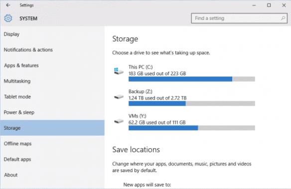 Settings - System - Storage