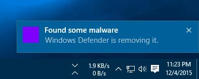 Windows Defender - found some malware notification