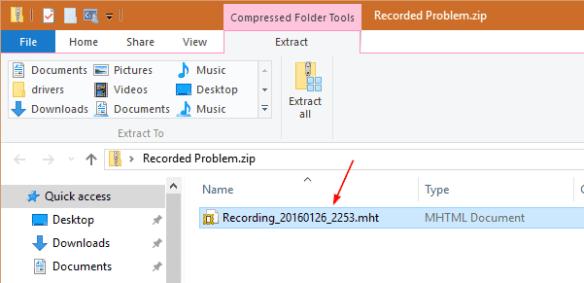 Windows 10 - Steps Recorder - Output