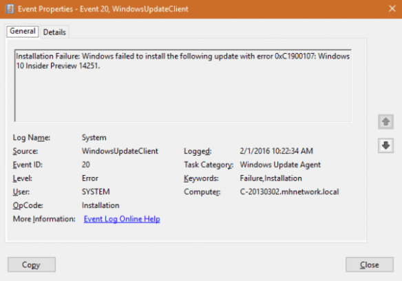 Event Viewer - Windows update error