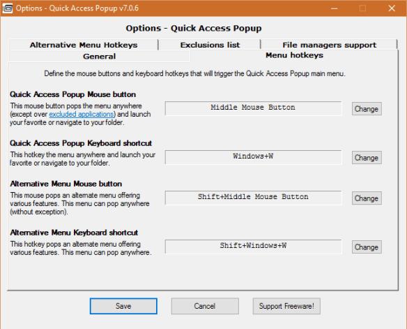 Quick Access Popup - options