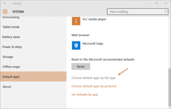 Settings - Default App - by file type