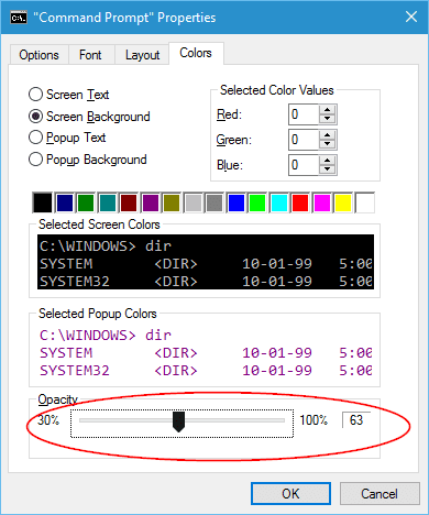 Windows 10 - Command Prompt Properties - colors tab