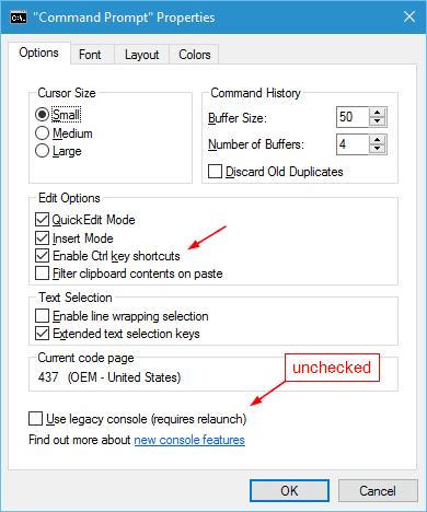 Windows 10 - Command Prompt Properties