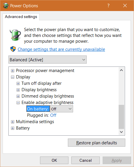 Windows 10 - Power Options - Advanced settings