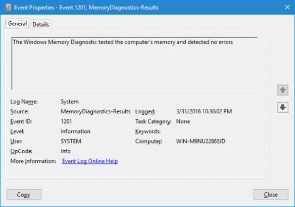 Memory Diagnostic Result