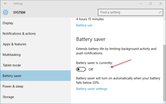 Windows 10 - Settings - System - Battery saver - 2