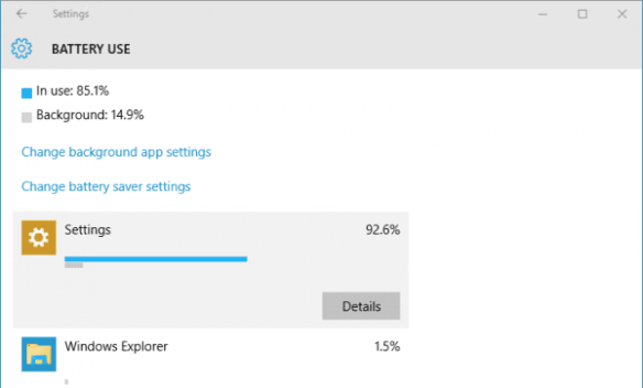 Windows 10 - Settings - System - Battery saver - battery use - app details
