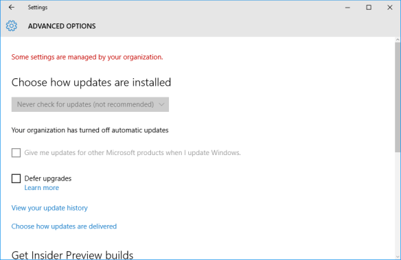 Windows 10 - update disabled