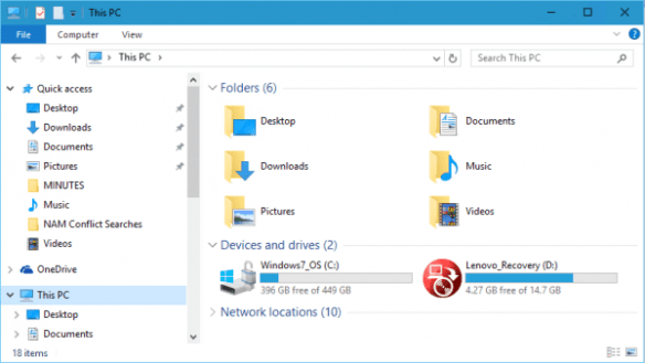 File Explorer with Recovery Drive