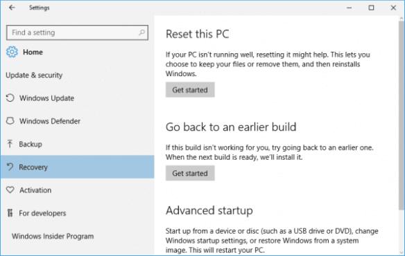 Windows 10 - Settings - Update - Recovery