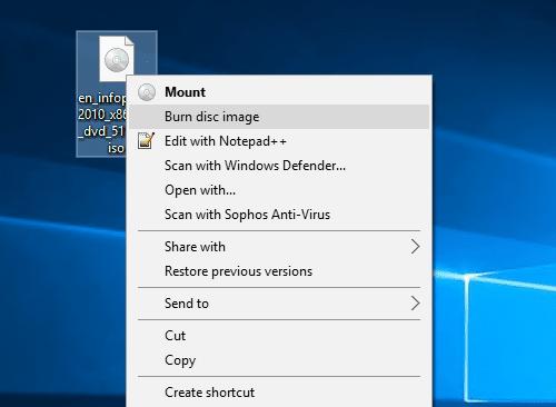 Windows 10 - burn ISO image