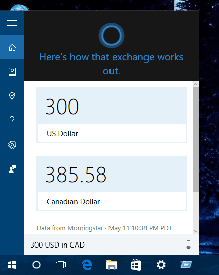Windows 10 - cortana - full exchange conversion