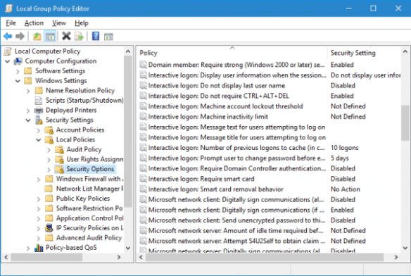 Windows 10 - Group Policy - Interactive Logo Security Options
