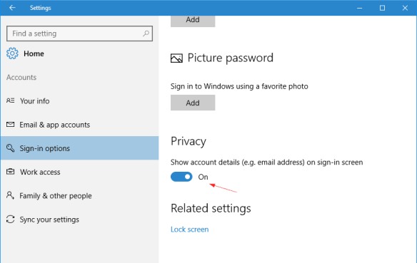 Windows 10 - Settings - Account - Sign-in Options