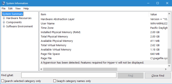 msinfo32 - hyper-v detected