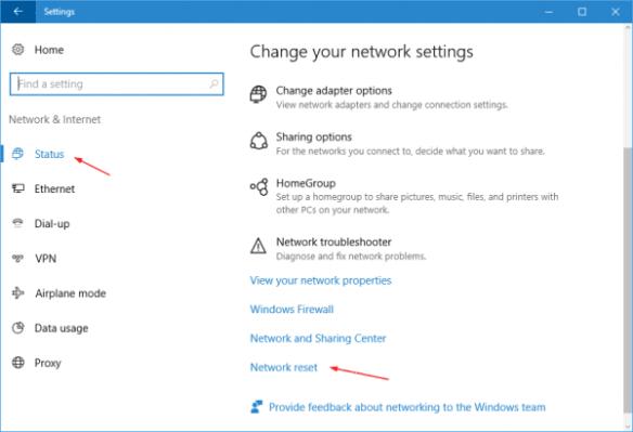 Settings - Network - Status