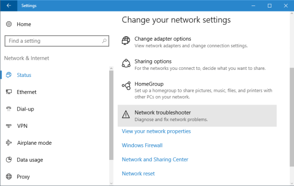Settings - network - network troubleshoot