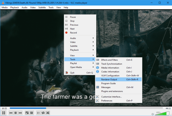 VLC right click Tools Render Output 600x407 - Top 5 VLC Playback Tricks - Essential For Power Users