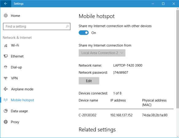 Windows 10 - Settings - Network - Hotspot connected