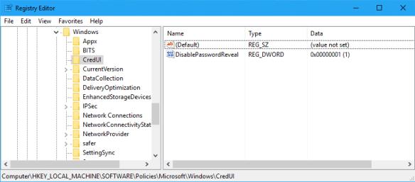 Registry - disable password reveal