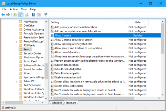 Windows 10 - Group Policy - disable Allow Cortana