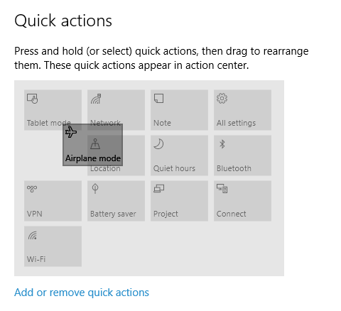 Windows 10 - Settings - Notifications - rearrange icons