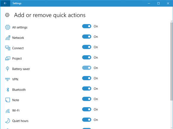 Windows 10 - Settings - System - Notification - Quick Action
