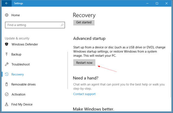 Windows 10 Settings Update Security recovery 600x391 - Windows 10 Tip: How To Get Access to the Advanced Boot Options Menu