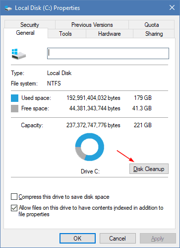 Launch Disk Cleanup in Disk drive properties - Running Disk Cleanup Tool in Command Line in Windows 10