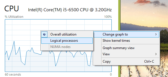 Task Manager change CPU graph - Windows 10 Quick Tip: How To Display All CPU Cores Performance in Task Manager