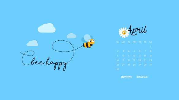 apr 17 be happy bee preview opt 600x338 - Download Smashing Magazine Desktop Wallpaper Calendar April 2017 Windows 7/8/10 Theme