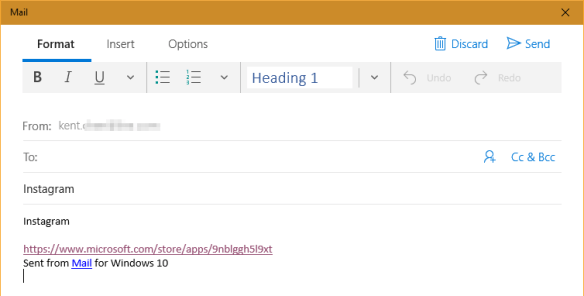 Mail with shared link 600x304 - Windows 10 Tip: How To Get A Link to Windows Store App