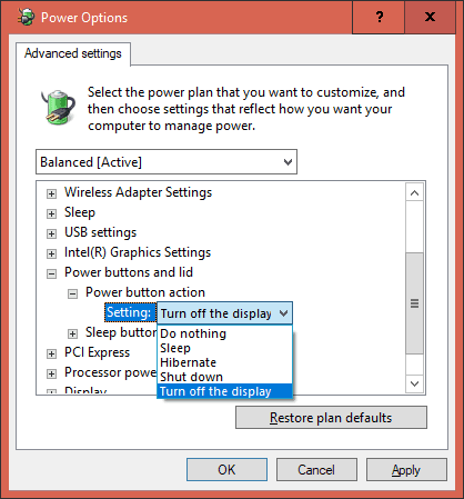 Power Options Power button setting to turn off display - Windows 10 Tip: How To Set Power Button to Turn Off Monitors