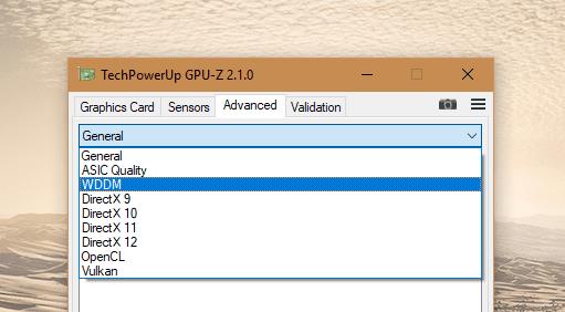 GPU-Z - Advanced dropdown list