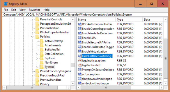 Registry Editor HideFastUserSwitching 600x326 - Windows 10 Tip: How To Disable Fast User Switching Feature