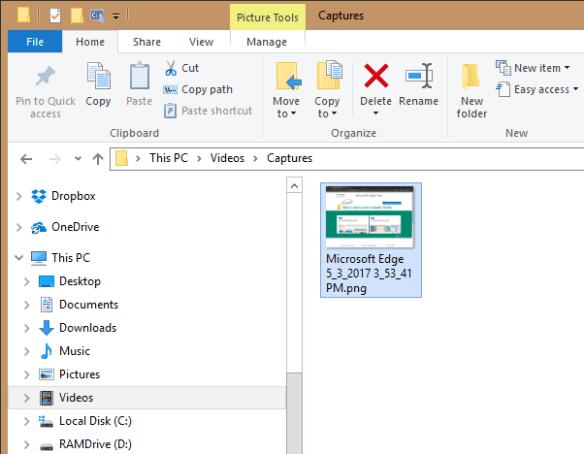 Screenshot saved in Captures folder 600x466 - Windows 10 Tip: Use Win+Alt+PrtScn Hotkey to Take Screenshot of A Specific Program