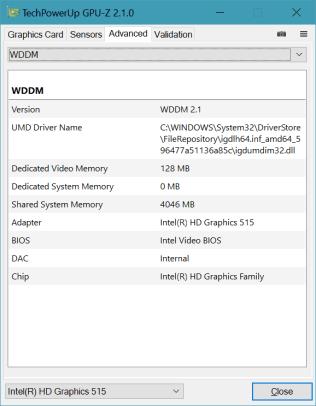 GPU-Z - Advanced tab