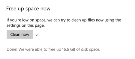 Windows 10 Settings Storage Sense delete previous versions result 450x197 - Windows 10 New Feature: Easily Delete Previous Versions of Windows