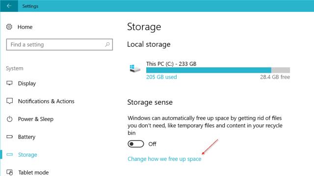 Windows 10 settings storage sense - Windows 10 New Feature: Easily Delete Previous Versions of Windows