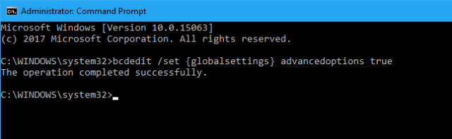 bcdedit globaloptions - How To Boot To Advanced Startup Settings Automatically on Windows 10