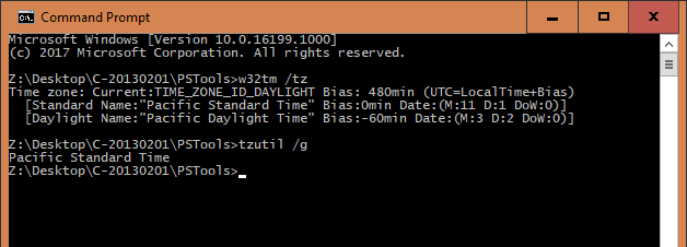 w32tm and tzutil to check timezone - Windows 10 Tip: Where to Check and Set Time Zone on My Computer