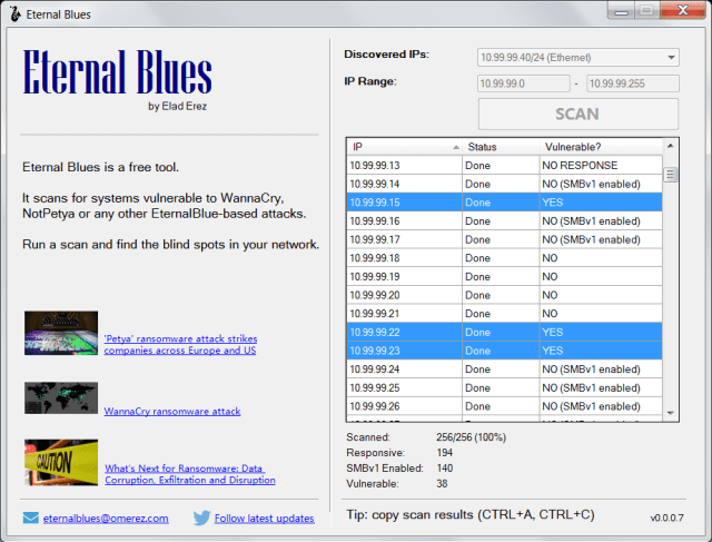 Eternal Blues scan result - Eternal Blues to Find Out If Windows Vulnerable to WannaCry and Petya
