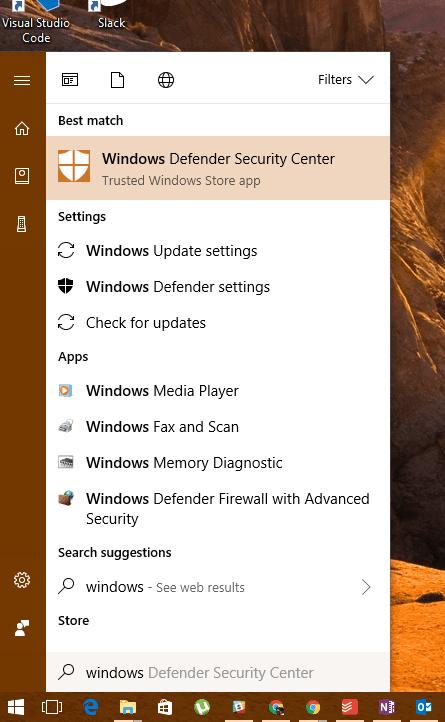 Start Menu - Windows Defender Security Center
