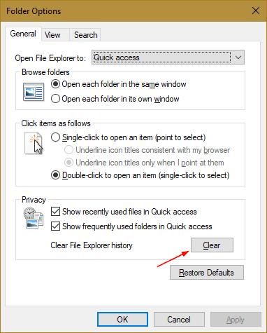 Folder Options - Clear