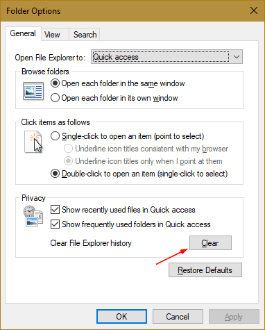 Folder Options - Clear