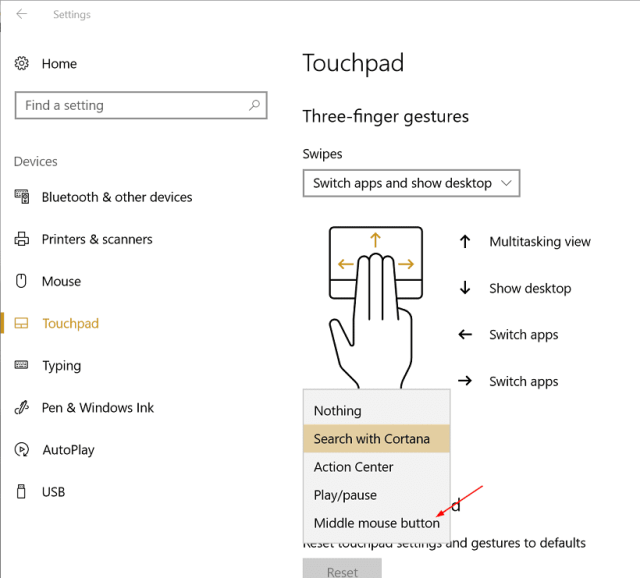 Settings - Device - touchpad - middle button