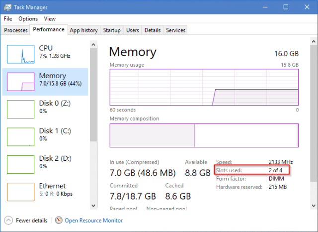 Task Manager - Performance - Memory - slot