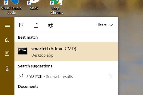 Start menu - smartctl