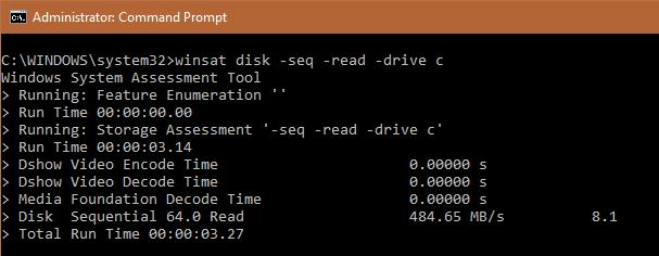 WinSAT Disk -Seq -Read
